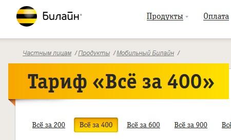Новый тариф «Всё за 400» на Билайн в Москве — подробное описание